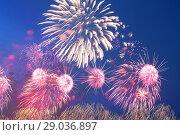 Купить «Celebratory colorful fireworks exploding in the skies.», фото № 29036897, снято 9 мая 2014 г. (c) Владимир Журавлев / Фотобанк Лори