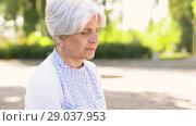 Купить «senior woman reading book at summer park», видеоролик № 29037953, снято 21 августа 2018 г. (c) Syda Productions / Фотобанк Лори