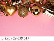 Купить «Merry Christmas and New Year decoration set», фото № 29039017, снято 3 января 2018 г. (c) Pavel Biryukov / Фотобанк Лори