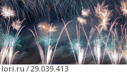 Купить «Celebratory colorful fireworks exploding in the skies», фото № 29039413, снято 10 августа 2013 г. (c) Владимир Журавлев / Фотобанк Лори