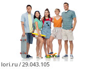 Купить «friends with skateboards over white background», фото № 29043105, снято 30 июня 2018 г. (c) Syda Productions / Фотобанк Лори
