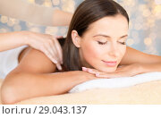 Купить «close up of beautiful woman having massage at spa», фото № 29043137, снято 25 июля 2013 г. (c) Syda Productions / Фотобанк Лори