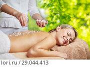 Купить «woman having salt massage in spa», фото № 29044413, снято 18 декабря 2014 г. (c) Syda Productions / Фотобанк Лори