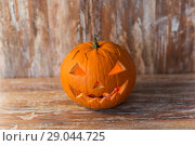 Купить «jack-o-lantern or carved halloween pumpkin», фото № 29044725, снято 18 сентября 2017 г. (c) Syda Productions / Фотобанк Лори