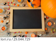 Купить «blank chalkboard and halloween decorations», фото № 29044729, снято 18 сентября 2017 г. (c) Syda Productions / Фотобанк Лори