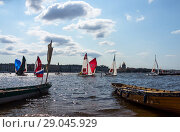 Купить «Saint Petersburg. Racing of yachts from different cities of Russia to the National Sailing League - a festive sailing regatta in honor of the 300th anniversary of Russian sailing in the water area of the Neva River. August 18, 2018», фото № 29045929, снято 18 августа 2018 г. (c) Виктория Катьянова / Фотобанк Лори