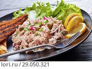 Купить «close-up of Tuna, capers and red onion salad», фото № 29050321, снято 12 августа 2018 г. (c) Oksana Zh / Фотобанк Лори