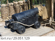 Купить «Ancient fortress gun into position. The picture was taken in Russia, in the Republic of Crimea, in the city of Sevastopol, on the Malakhov Hill», фото № 29051129, снято 10 июня 2018 г. (c) Вадим Орлов / Фотобанк Лори