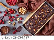 Купить «chocolate pound cake made of buckwheat flour», фото № 29054197, снято 13 августа 2018 г. (c) Oksana Zh / Фотобанк Лори