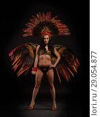 Купить «Woman in brazilian carnival costume.», фото № 29054877, снято 28 апреля 2017 г. (c) Мельников Дмитрий / Фотобанк Лори