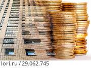 Купить «Панорама строительства на фоне денег», фото № 29062745, снято 28 декабря 2019 г. (c) Сергеев Валерий / Фотобанк Лори