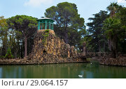 Купить «Pond with bridge and islands in Sama Park under blue sky, Catalonia», фото № 29064157, снято 24 сентября 2016 г. (c) Яков Филимонов / Фотобанк Лори