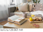 Купить «book, lemon, tea and cookies on table at home», фото № 29067141, снято 15 ноября 2017 г. (c) Syda Productions / Фотобанк Лори