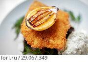 Купить «close up of fish salad with roasted lemon on plate», фото № 29067349, снято 16 января 2017 г. (c) Syda Productions / Фотобанк Лори