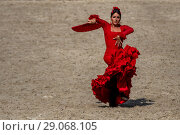 Купить «Традиционный испанский танец фламенко с веером», фото № 29068105, снято 2 сентября 2018 г. (c) Николай Винокуров / Фотобанк Лори