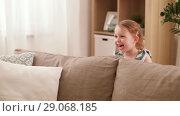 Купить «happy baby girl playing hide and seek game at home», видеоролик № 29068185, снято 10 августа 2018 г. (c) Syda Productions / Фотобанк Лори
