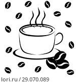 Купить «Cup of coffee and coffee beans», иллюстрация № 29070089 (c) Мастепанов Павел / Фотобанк Лори