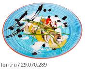 Купить «Gratin potatoes with champignons. Isolated over white background», фото № 29070289, снято 11 декабря 2018 г. (c) Яков Филимонов / Фотобанк Лори