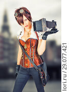 Купить «steampunk girl in vintage corset with retro camera», фото № 29077421, снято 23 августа 2015 г. (c) katalinks / Фотобанк Лори