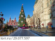 Купить «Москва. Новогодняя елка на Красной площади рядом со зданием ГУМа», фото № 29077597, снято 9 января 2018 г. (c) Елена Коромыслова / Фотобанк Лори
