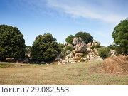 Купить «Summer landscape of Filitosa, megalithic site», фото № 29082553, снято 20 августа 2018 г. (c) EugeneSergeev / Фотобанк Лори