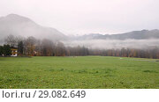 Купить «Foggy weather Berchtesgaden», видеоролик № 29082649, снято 12 сентября 2018 г. (c) Сергей Петерман / Фотобанк Лори