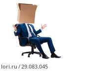 Купить «Businessman with blank box on his head», фото № 29083045, снято 5 апреля 2018 г. (c) Elnur / Фотобанк Лори