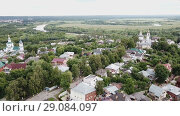 Купить «Panoramic aerial view historical part of the Vladimir with Klyazma, Russia», видеоролик № 29084097, снято 29 июня 2018 г. (c) Яков Филимонов / Фотобанк Лори