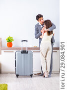 Купить «Wife seeing her husband off to business trip», фото № 29084901, снято 27 июня 2018 г. (c) Elnur / Фотобанк Лори