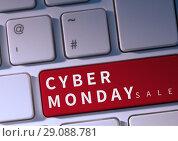 Купить «Cyber Monday Sale on keyboard», фото № 29088781, снято 27 января 2020 г. (c) Wavebreak Media / Фотобанк Лори