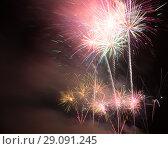 Купить «Colorful fireworks on night sky», фото № 29091245, снято 22 июля 2017 г. (c) Яков Филимонов / Фотобанк Лори