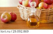 Купить «apples in basket and jug of juice on table», видеоролик № 29092869, снято 7 сентября 2018 г. (c) Syda Productions / Фотобанк Лори