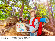 Купить «Little boy with treasure map in the forest game», фото № 29092957, снято 21 мая 2018 г. (c) Сергей Новиков / Фотобанк Лори