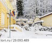 Spa center of small west Bohemian spa town Marianske Lazne (Marienbad) in winter with snow - Czech Republic (2018 год). Стоковое фото, фотограф Николай Коржов / Фотобанк Лори