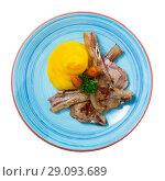 Купить «Top view of mutton with swede puree, carrots», фото № 29093689, снято 25 сентября 2018 г. (c) Яков Филимонов / Фотобанк Лори