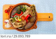 Купить «Top view of shurpa from mutton», фото № 29093789, снято 16 августа 2018 г. (c) Яков Филимонов / Фотобанк Лори