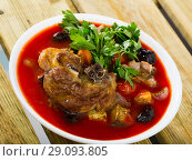 Купить «Tomato soup with lamb», фото № 29093805, снято 16 августа 2018 г. (c) Яков Филимонов / Фотобанк Лори