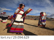 Купить «Indigenous people with traditional costumes during a performance at the Inti Raymi Festival in Saqsaywaman Archaeological Site, Cusco, Peru, South America», фото № 29094629, снято 24 июня 2018 г. (c) age Fotostock / Фотобанк Лори