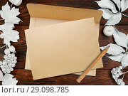Greeting card for Thanksgiving Day in rustic style with space for your text on kraft paper. Frame mockup with white berries and leaves on a wooden autumn background. Flat lay. Top view. Стоковое фото, фотограф Happy Letters / Фотобанк Лори