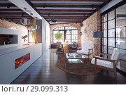 Купить «modern loft kitchen interior.», фото № 29099313, снято 20 октября 2018 г. (c) Виктор Застольский / Фотобанк Лори