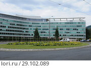 Купить «Switzerland: The Headquarter of the food and drink multi Nestlé in Vevey City at Lake Geneva.», фото № 29102089, снято 6 июля 2011 г. (c) age Fotostock / Фотобанк Лори