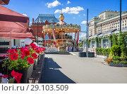 Купить «Карусель в Москве и цветы. Carousel in Moscow  and red flowers», фото № 29103509, снято 14 августа 2018 г. (c) Baturina Yuliya / Фотобанк Лори