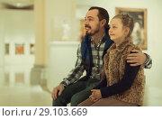 Купить «happy father and daughter exploring expositions in museum», фото № 29103669, снято 22 сентября 2018 г. (c) Яков Филимонов / Фотобанк Лори