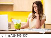 Купить «Young woman wife in budget planning concept», фото № 29105137, снято 12 июня 2018 г. (c) Elnur / Фотобанк Лори