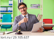 Купить «Young handsome lawyer working in the office», фото № 29105637, снято 22 мая 2018 г. (c) Elnur / Фотобанк Лори