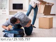 Купить «Woman evicting man from house during family conflict», фото № 29105797, снято 23 марта 2018 г. (c) Elnur / Фотобанк Лори