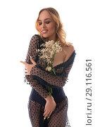Купить «Gorgeous girl in chiffon dress isolated shot», фото № 29116561, снято 14 августа 2018 г. (c) Гурьянов Андрей / Фотобанк Лори