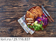 Купить «Crispy fried pork fillet with salad, top view», фото № 29116837, снято 27 августа 2018 г. (c) Oksana Zh / Фотобанк Лори