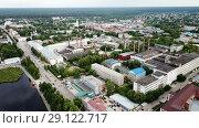 Купить «Panoramic aerial view of district of Gus-Khrustalny, Vladimir region, Russia», видеоролик № 29122717, снято 27 июня 2018 г. (c) Яков Филимонов / Фотобанк Лори