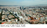 Купить «Panoramic view of modern areas in coastal zone of Barcelona», видеоролик № 29122725, снято 23 июля 2018 г. (c) Яков Филимонов / Фотобанк Лори